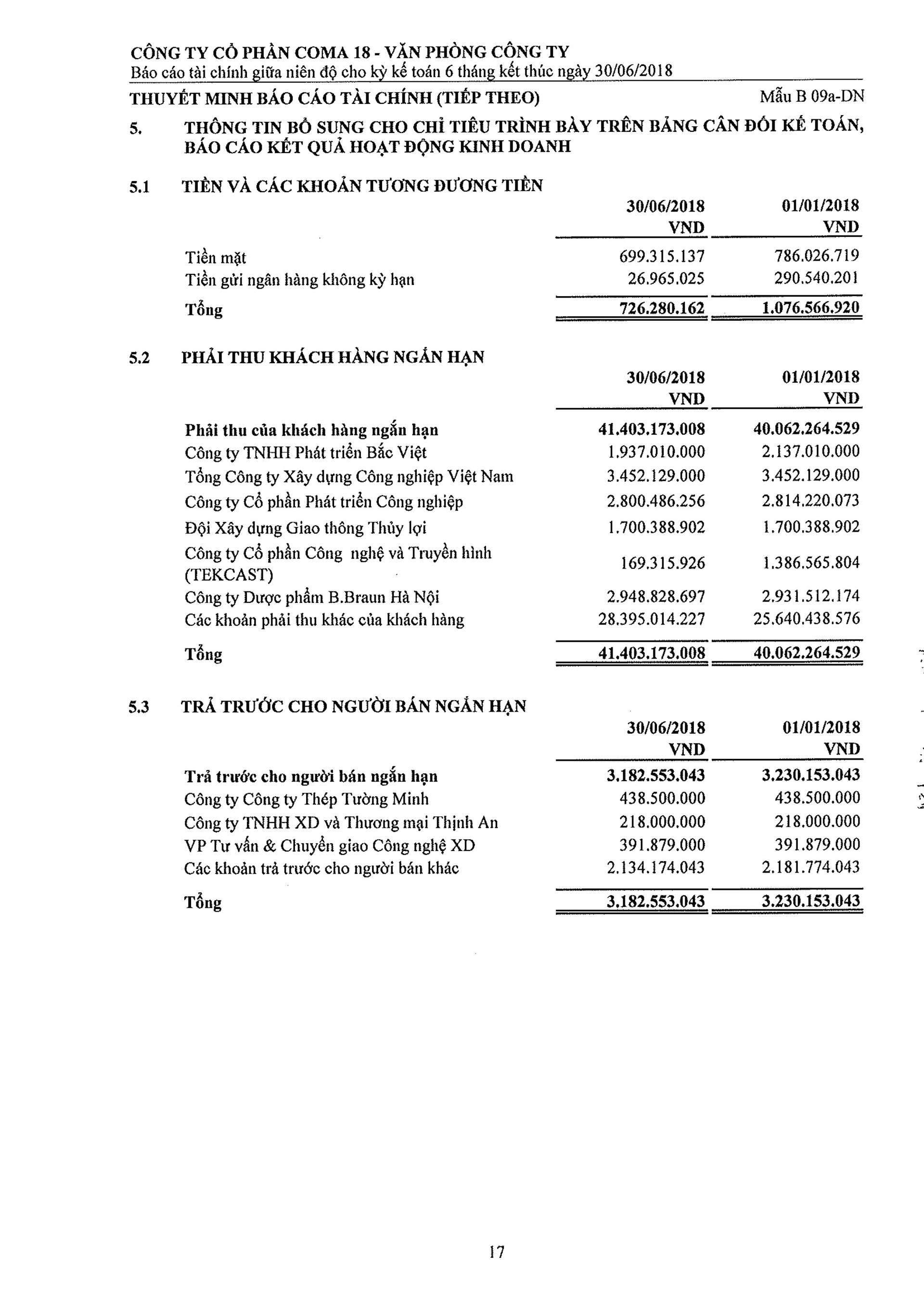 Báo cáo Tài chính COMA 2-18