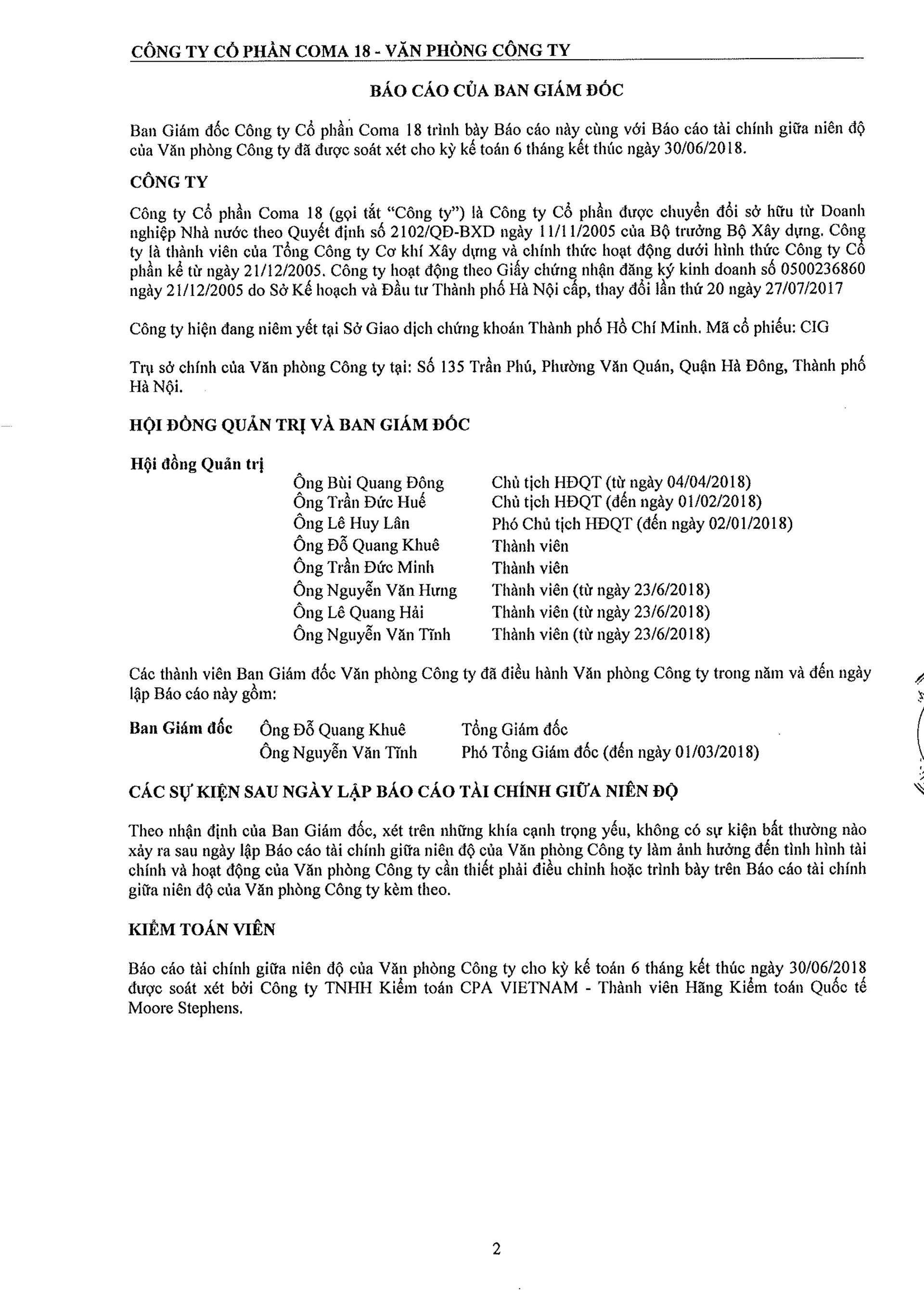 Báo cáo Tài chính COMA 2-3